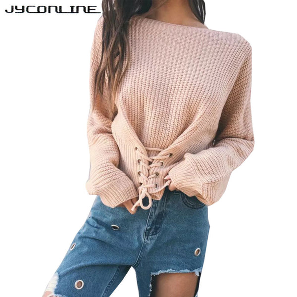 Lace Up Sweater Women Knitted Women Sweaters And Pullovers Jumper Adjust Waist Bandage Sweater Pull Femme