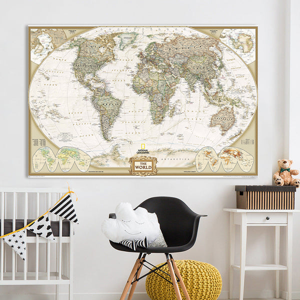 QKART Wall Art Home Decor no Frame large map of the world Poster Oil Painting on Canvas for Living Room Office Bedroom - On Trends Avenue