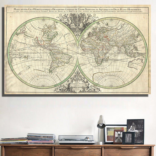 QKART Decorative Pictures The Retro Global World Map Oil Printing Canvas Wall Art Home Decor no Framed - On Trends Avenue