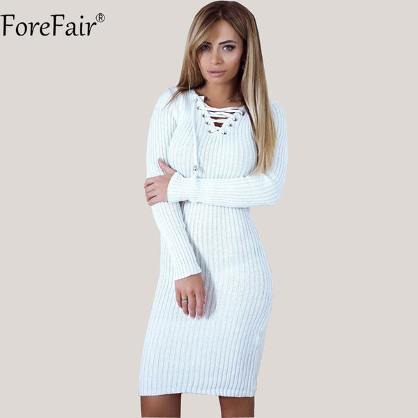 Trendy Criss-Cross Lace-Up Sheath Sweater Dress - On Trends Avenue