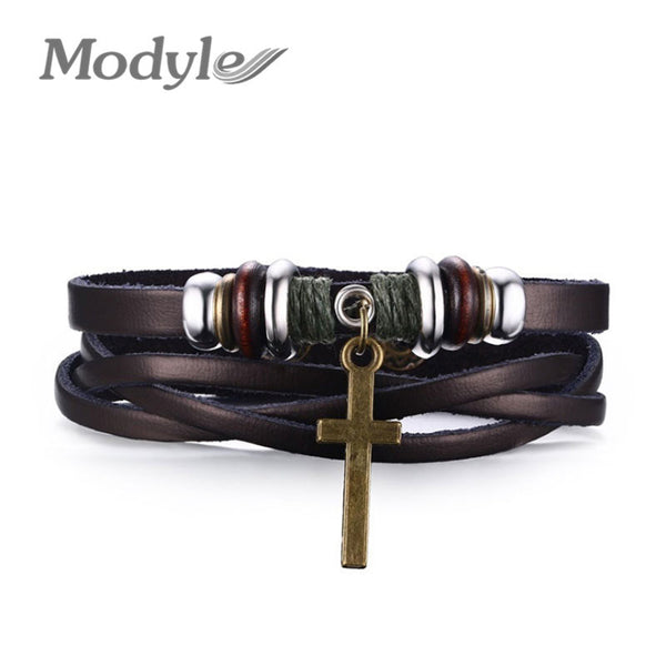 Modyle New Fashion Jewelry Men Leather Stainless Steel Bracelets Male Retro Bracelet Personality Gift - On Trends Avenue