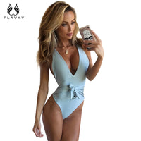 2018 Sexy Halter Deep V Front Bow Knotted Bandage Trikini Bodysuit Swim Bathing Suit Monokini Swimwear Women One Piece Swimsuit
