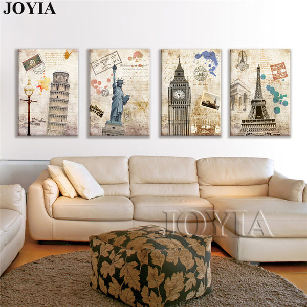 4 Piece Vintage Paintings Canvas Wall Art Painting Prints World Landmark Landscape Pictures For Home Room Decoration Framed No