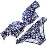 2018 Sexy Blue Floral Geometric Bandeau Ruffled Off Shoulder Biquini Swim Bathing Suit Swimsuit Swimwear Women Push Up Bikini