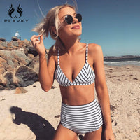 PLAVKY 2018 Sexy Retro White Black Striped Ripple Biquini Swim Bathing Suit High Waist Swimsuit Swimwear Women Push Up Bikini