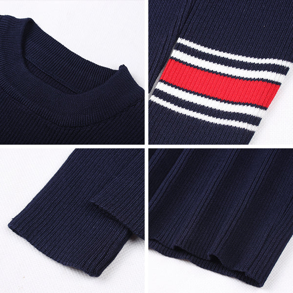 Gracegirl Winter Women Dresses Series Spring Striped Fitness Knitted Sweater Dress Casual Bodycon Slim Midi Vestidos SA231095 - On Trends Avenue