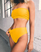 PLAVKY 2018 Lady Sexy Solid Strapless Bandeau Biquini Cut Swim Wear Bathing Suit Swimsuit Thong Swimwear Women High Waist Bikini
