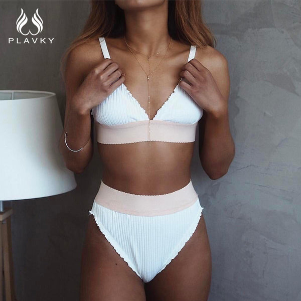 PLAVKY 2018 Sexy White Ruffled Biquini Swim Wear Bathing Suit Swimsuit Cut High Waisted Swimwear Women Brazilian Push Up Bikini