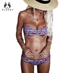 PLAVKY 2018 Sexy Purple Bandeau Braided Strappy Biquini Halter Bathing Suit Swimsuit Swimwear Women Brazilian Push Up Bikini Set