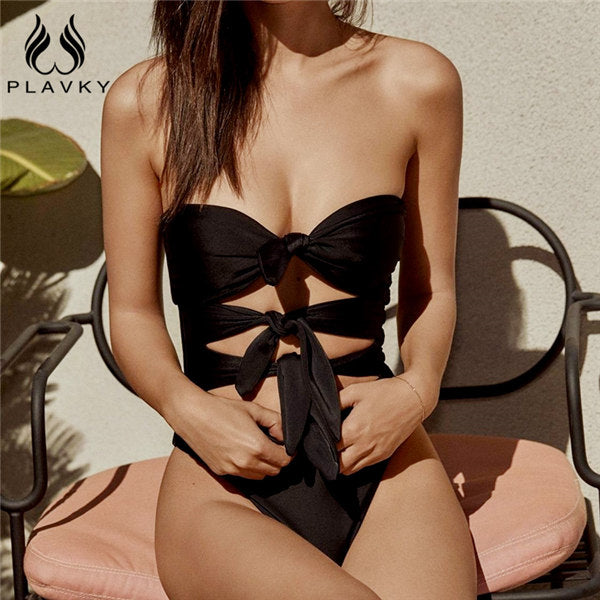 PLAVKY Sexy Bandeau Front Bow Knotted Trikini High Cut Out Swim Bathing Suit Monokini Thong Swimwear Women One Piece Swimsuit