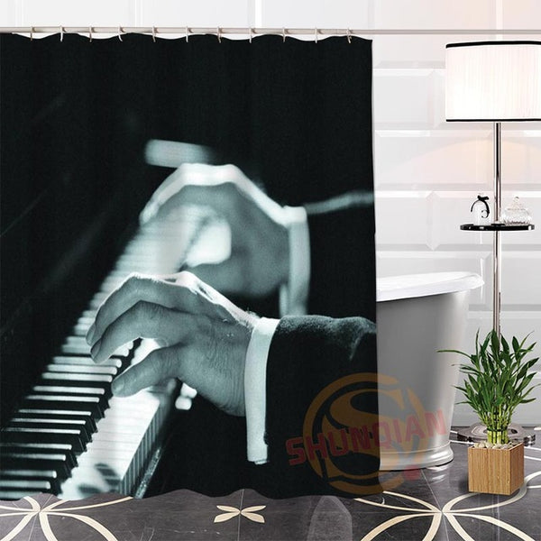 100% Polyester Custom Popular musical note Fabric Modern Shower Curtain bathroom Waterproof New arrival H0223-22