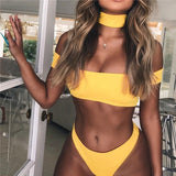 PLAVKY 2018 Sexy Solid Bandeau Off Shoulder Biquini Swim Bathing Suit Thong Swimsuit Swimwear Women Brazilian Bikini With Choker