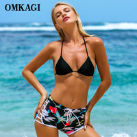 OMKAGI High Waist Bikinis Set Swimsuit Swimwear Women Swimming Bathing Suit Beachwear Sexy Push Up Brazilian Bikini 2018 Newest