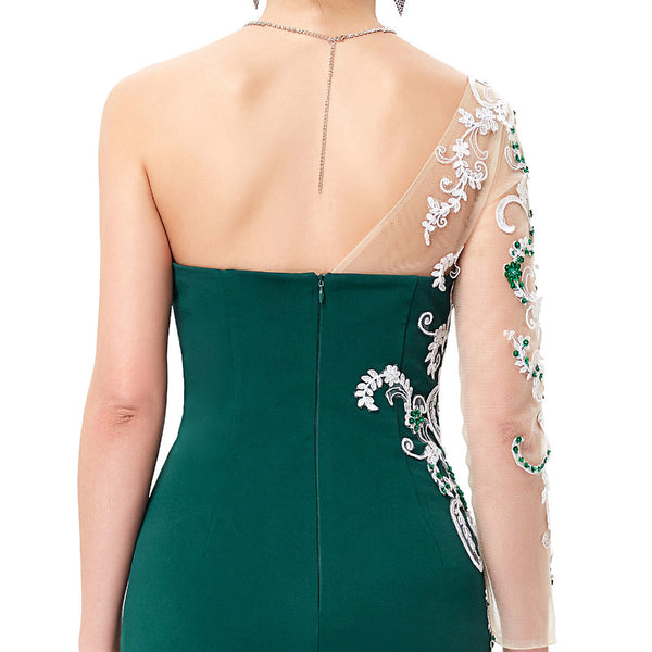 ... Green Envy Grace Karin Asymmetrical Long Sleeve Evening Dress Appliques  Lace Special Occasion Gowns Dark Green ... e27d28511ca9