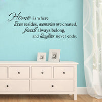 Home Is Where Love Resides friends laugh often.. Quote Vinyl Art Wall Stickers home decor