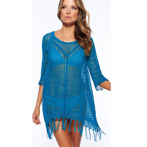 ff70918ddd8f4 2018 New Beach Cover Up Bikini Crochet Knitted Tassels Beachwear Summer  Swimsuit Cover Up Sexy See