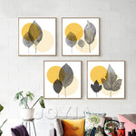 30x30cm Modern Wall Canvas Art Print Poster Abstract Gray Leaves Decor Pictures for Living Room Office Minimalist Decoration