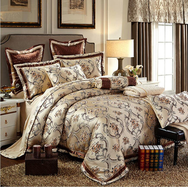 European Noble Home Textile 4/6pcs Jacquard Bedding Set Embroidery Silk/Cotton Duvet Cover Bed Sheet Cotton King Queen Size