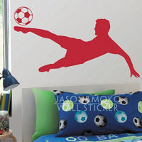 Soccer Football Player Kicking Ball Sports Vinyl Wall Decal Sticker Wallpaper Mural Boys Room Bedroom Home Decoration 50x90cm