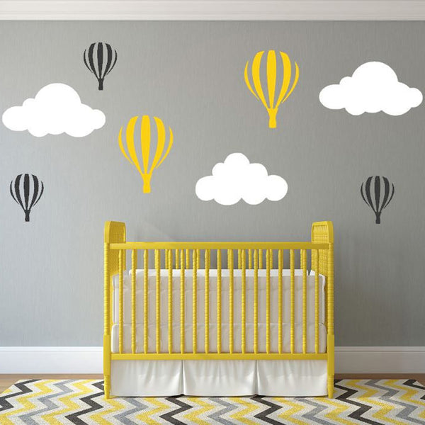 Clouds Hot Balloon Personalized Vinyl Wall Sticker Decal Mural Words removable wall stickers