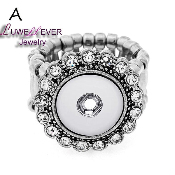 Plated Press Snap Buttons Button Crystal Rings For Women Fit 12mm Buttons Ring Snaps Jewelry