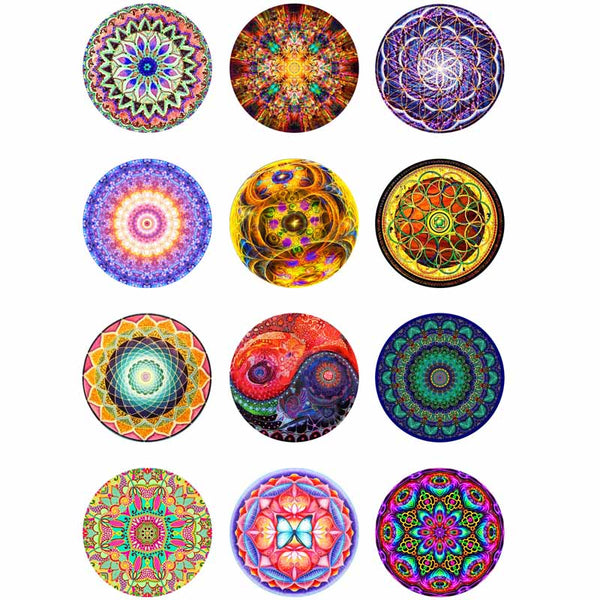 12pcs/lot Mandara mix round glass cabochons DIY jewelry findings fit 18mm snap button bracelet women