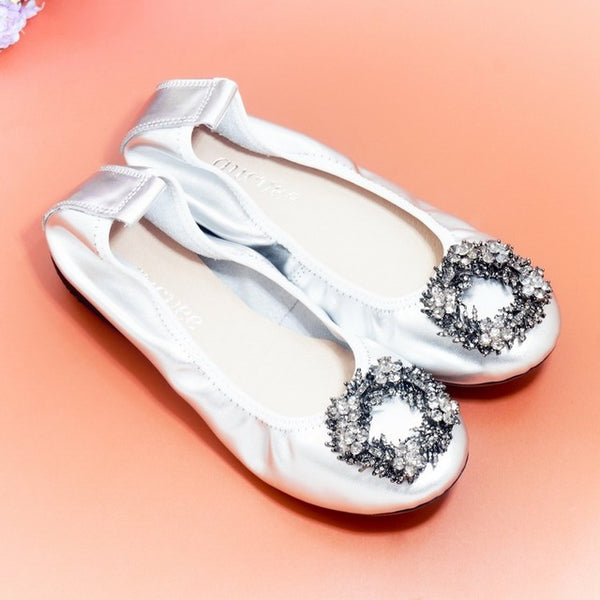Plus Size 34-43 Ladies Flat Shoes Fashion Bling Rhinestone Women Flats Casual Genuine Leather Ballet Flats Fold Up Gold Shoes
