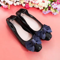 2018 Fashion Genuine Leather Loafers Shoes Flats with Bow Women Moccasin Black Luxury Handmade Soft Leisure Ballet Flat Footwear