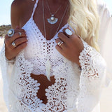 Women Summer Tops Sexy Bohemian Halter Camis Crochet Crop Top Knit Bustier Cropped Retro Strappy Bralette Camisole Crochet Blusa - On Trends Avenue
