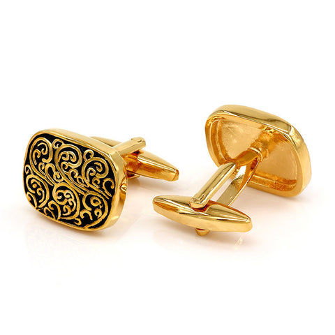 Vintage Engravable Gold Plated Cufflinks Men Cuff Links Luxury Unique Mens Gifts - On Trends Avenue