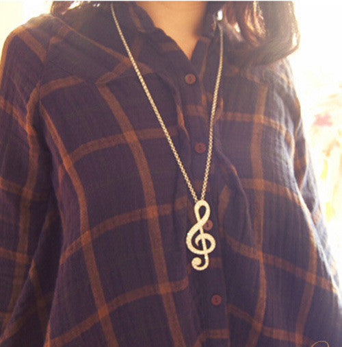 Women Chic Rhinestone Rhythm Pendants Music Note Long Chain Sweater Necklace Silver and Gold Colors - On Trends Avenue
