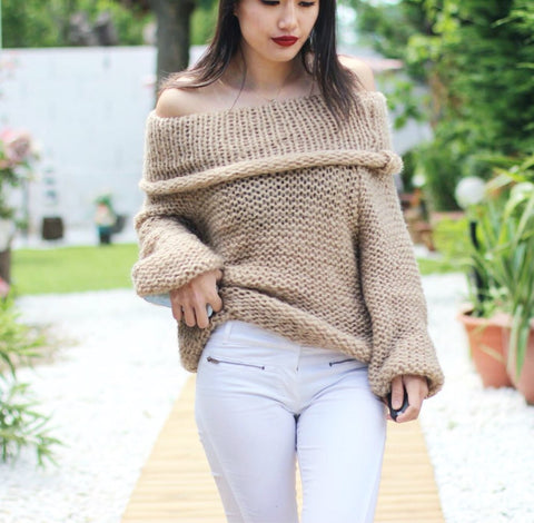 Sexy off shoulder casual pullover sweater poncho loose knitted top Pullovers oversized knitwear jumper - On Trends Avenue