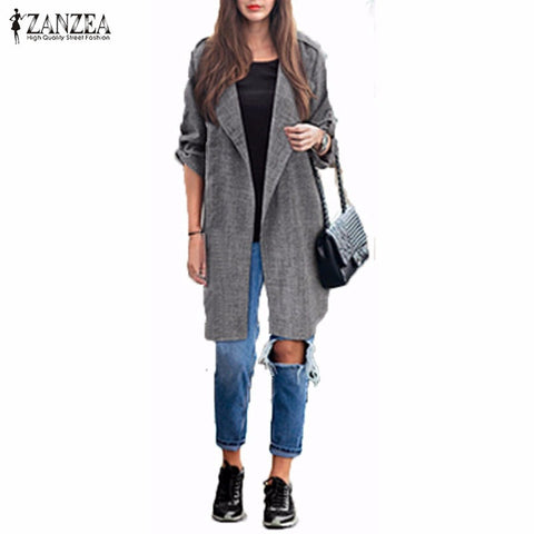 ZANZEA Women Slim Fashion Casual Lapel Windbreaker Cape Coat European Style Linen Cardigan Jacket Plus Size - On Trends Avenue