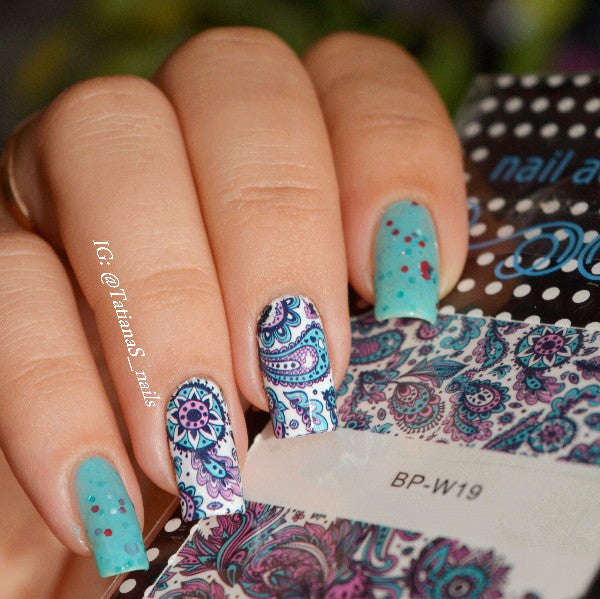 2 Patterns/ Flower Nail Art Water Decals Transfer Sticker - On Trends Avenue