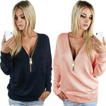 New women T Shirt fashion V-Neck long sleeve women tops zipper sexy t-shirt blusas femininas hot sale TSTS1 - On Trends Avenue