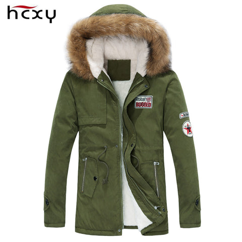 new arrival men's thick warm winter down coat fur collar army green men parka big yards long cotton coat jacket parka men - On Trends Avenue