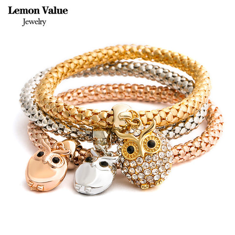 New Punk Gold Chain Multilayer Bangles Vintage Charms Elastic Force Crystal Owl Pendant Bracelet Women Jewelry Pulseras E005 - On Trends Avenue