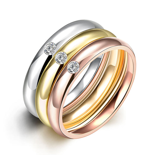3 PCS/Set Zircon 316L Stainless Steel Wedding Rings For Women Gold Plated Crystal Titanium Finger Rings Female - On Trends Avenue