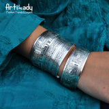 Artilady boho antic silver cuff copper bangle bohemia antalya carve pattern Statement bangle - On Trends Avenue