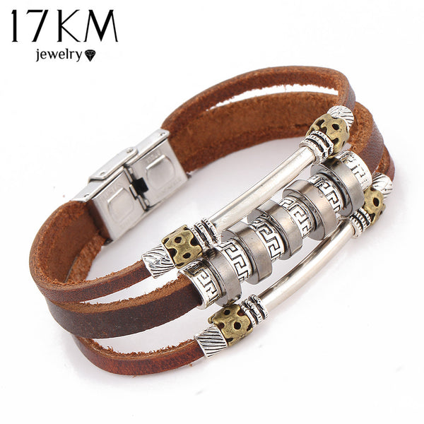 Handmade Retro Leather Woven Charm Rock Bracelet Men Vintage Braided Bangles Love Men - On Trends Avenue