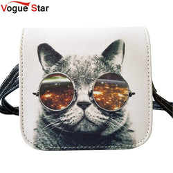 Vogue Star! Bolsos Carteras Mujer Marca Women PU Leather Cat Wearing Glasses Print Messenger Handbag Women Bag YA40-207 - On Trends Avenue
