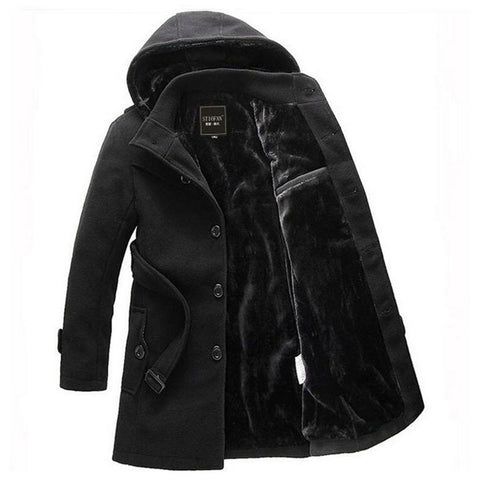 Men Thick Warm Winter Trench Coat Long Section Turn Down Collar Single breasted Solid Fashion Fleece Jacket Overcoat XXXL - On Trends Avenue