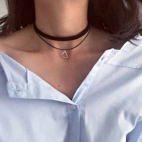 European Fashion Retro Geometric Triangle Pendant Necklace Collar Collar Double Personality Simple - On Trends Avenue