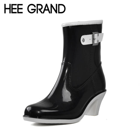 HEE GRAND Buckle Design Woman Rainning Shoes Mid-calf Women RainBoots Fashion Rubber Waterproof Thick Heel Boots XWX2952 - On Trends Avenue