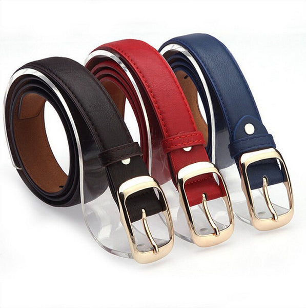 Women Fashion Belts Cinturones Mujer Ladies Faux Leather Metal Buckle Straps Girls Fashion Accessories - On Trends Avenue