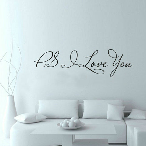 58*15cm PS I Love You Wall Art Decal Home Decor Famous & Inspirational Quotes Living Room Bedroom Removable Wall Stickers 8017 - On Trends Avenue