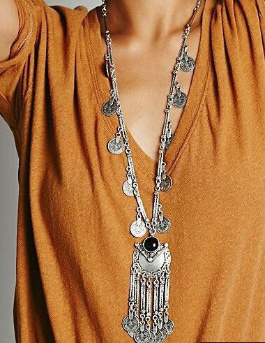 Fahion Ethnic Collier Femme Bohemian Long Necklace Statement Maxi Vintage Necklace Coin Tassel Fine Jewelry - On Trends Avenue