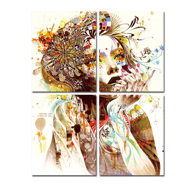 Colorful Girl Canvas Paintings For Room Wall Modern Paintings Ready to Hang Tableau Peinture Sur Toile With Frame Popular Gift - On Trends Avenue
