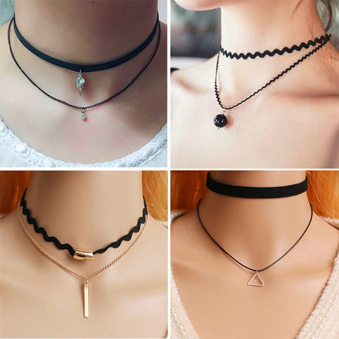 New Fashion Velvet Suede Lace Choker Necklace Gold Plated Black Rectangle Pendant Vintage Woman Punk Gift - On Trends Avenue
