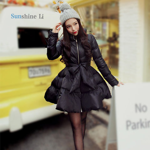 New Arrival Bow Waist Fluffy Skirt A Warm Coat Jacket  Parkas For Women Winter Women Down And Parkas  Long A1 - On Trends Avenue